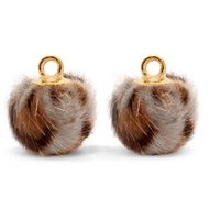 Bedel Pompom luipaard bruin/goud